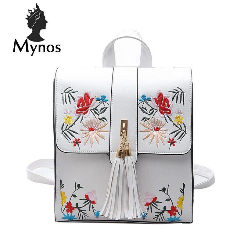 MYNOS Fashion Brand Designer Flowers Women Backpack Leather Travel Back Pack Bag Tassel Big Capacity Backpack