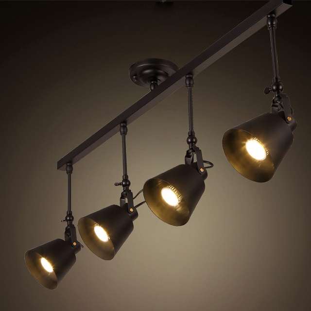 Vintage Loft Ceiling Light 1/2/3/4head Creative Loft Track Lamp cloth shop coffee bar light Free shipping