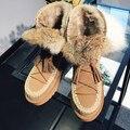 2016 de La Borla de Cuero Genuino Botas de Plataforma de Invierno Zapatos de Barcos Envío Gratis Peluches Cálidos Botines Mujeres Planos Ocasionales de Nieve Peludo