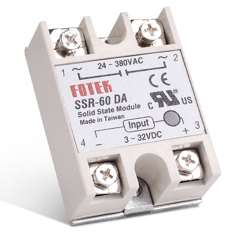 Industrial FOTEK Solid State Relay SSR 60DA 3-32V DC Input and 24-380VAC 60A AC Output Load with Transparent Protective Flag white shell 220v 3 32v single phase solid state relay ssr dc control ac fotek 80a ssr 80da