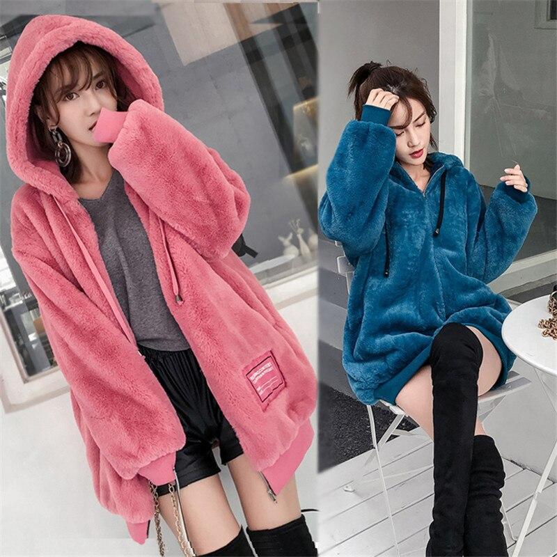 Automne hiver Hoodies 2018 femmes nouveau Mediun Long mode lâche Sweatshirts plus épais hauts à capuche femme manches longues vestes A1535