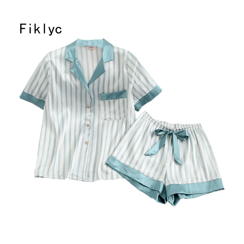 Fiklyc Underwear Women's Summer Short Sleeve Pajamas Sets With Short Pants Striped Sexy & Cute Sleepwear Sets Pyjamas For Girls