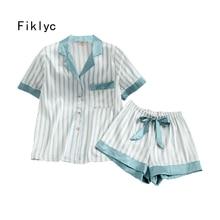 Fiklyc underwear womens summer short sleeve pajamas sets with short pants striped sexy & cute sleepwear sets pyjamas for girls