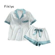 Fiklyc داخلية المرأة الصيف قصيرة الأكمام منامة مجموعات مع سراويل قصيرة مخطط مثير و لطيف ملابس خاصة مجموعات منامة للفتيات