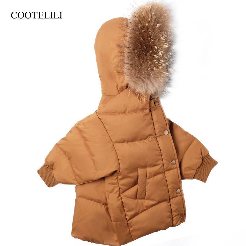 COOTELILI Warm Jakcet For Girls Coat Boys Winter Jacket Parka Real Raccoon Fur Snowsuit Kids Girls Clothes Winter 90-130cm