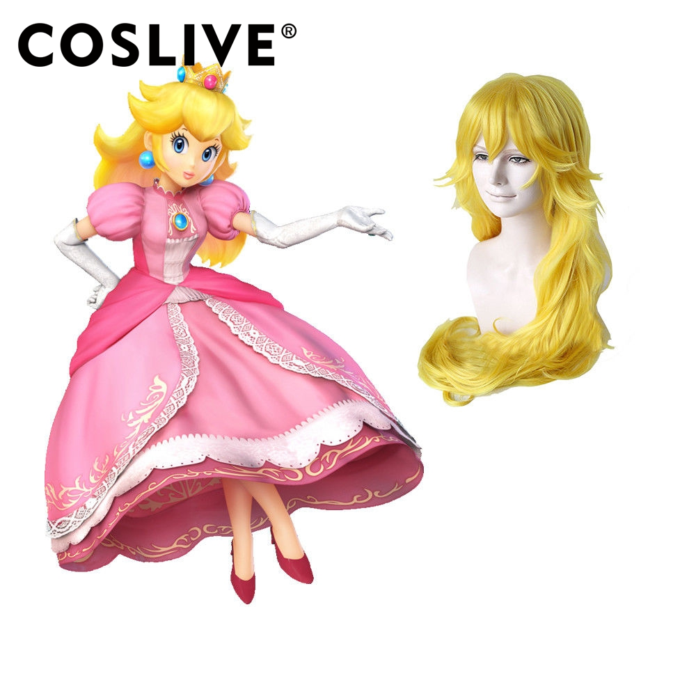 coslive super mario princess peach cosplay costume long wavy golden