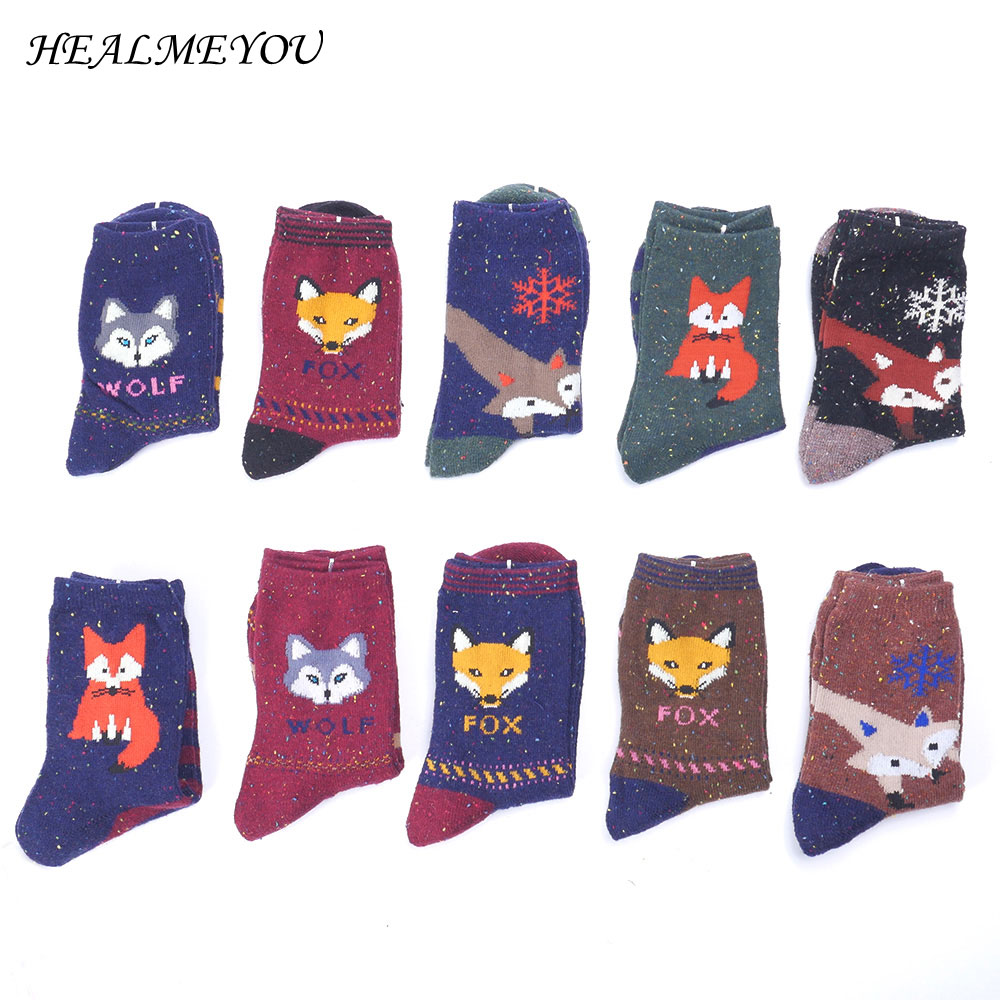 Women Cute Animal Cartoon Fox Wolf Warm Cotton Sock Female Ladies Casual Hosiery cartoon animal women watch