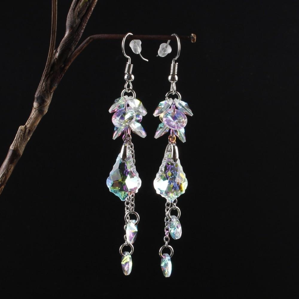 Купить женские длинные серьги с австрийскими кристаллами модные роскошные