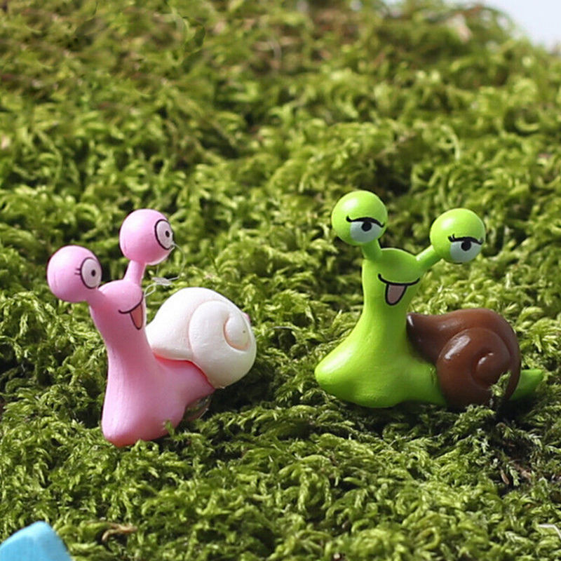 Cartoon snails fairy garden miniatures figurines jardin for Caracoles en el jardin