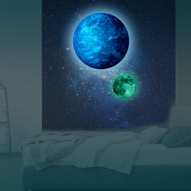 Funlife PVC Glowing Wall Sticker Luminous Moon Earth Art Glow In The Dark Wallpaper