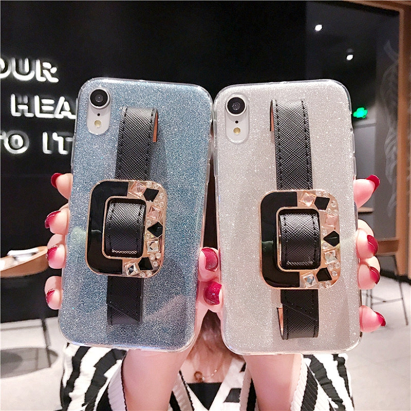 2 in 1 Bling Wrist Strap Case For iphone XR 6S 6 S plus Clear Soft Silicon Case For iphone XS Max 8 7 plus iphoneXS XR Cover image