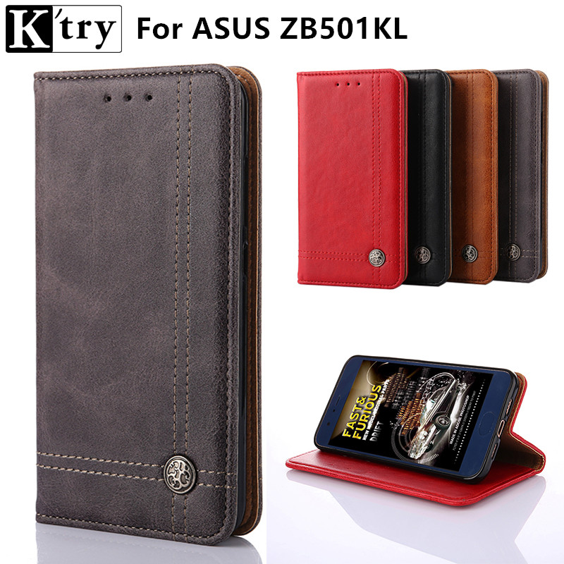 K'try Cover Case For Asus Zenfone Live ZB501KL Flip PU Leather Wallet Case For Asus ZB501KL With Card Holder Stand Design