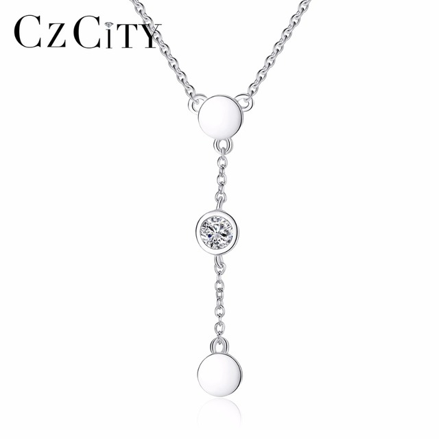 CZCITY Brand Necklace 925 Sterling Silver Link Chain Necklace Choker Collar Tiny