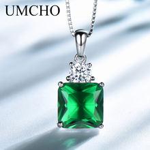 90d1905f21ec UMCHO de piedras preciosas collares y colgantes de la joyería de la plata  esterlina 925 Esmeralda Collar para mujeres regalo de .
