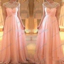 Stunning Kristall Lange Puffy Prom Kleider 2017 Heißer Verkauf Oansatz Eleganten Frauen Rosa Lange Abendgesellschaft Kleid