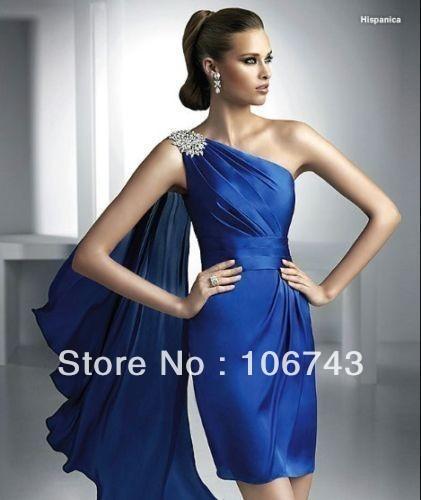 free shipping 2016 Evening gown Party formal bride Party gown crystal sexy one shoulder blue satin Short   prom     dresses