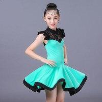 Sleeveless One Piece Dress Latina Girl Latin Dance Dress Solid Samba Carnival Costume Dancewear Kids Salsa Dresses Tango Dress