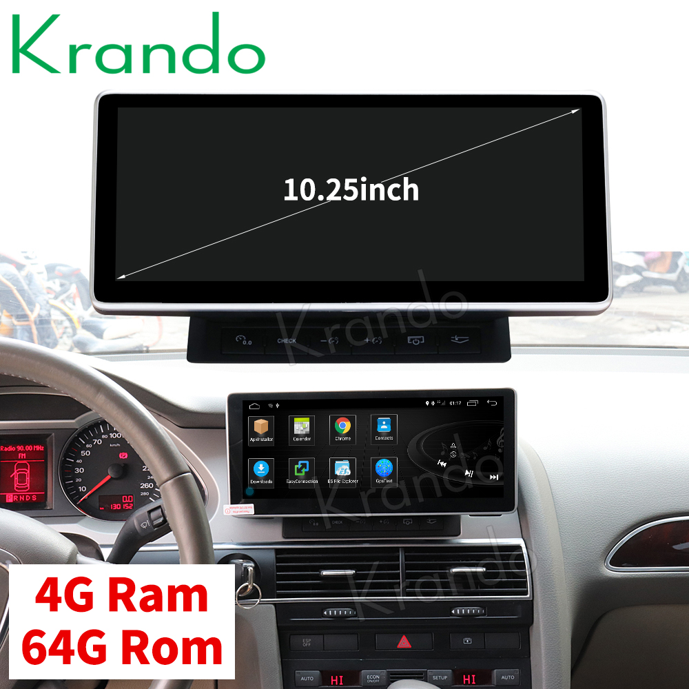 Krando Android 8 1 10 25 car radio dvd navigation for Audi A6L 2005 2009 multimedia