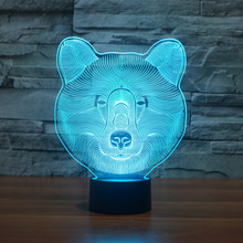 Polar Bear 3D Illusion 7 colorful effect Change Touch Switch USB Table Light Awesome Toy Gift Decoration for Boys and Girls