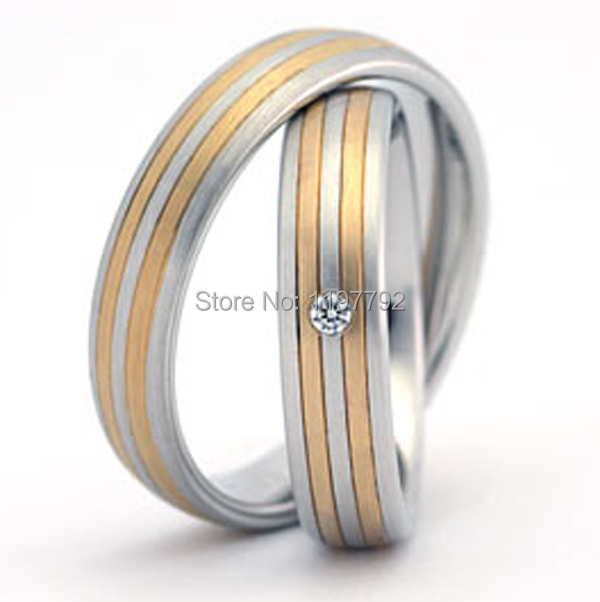 top quality custom made  titanium matching engagement wedding rings pair for couples gold plated jewelry