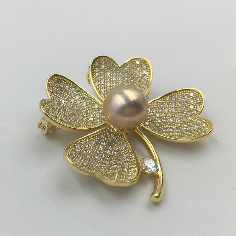 Sinya Natural Pearl Four leaves design Brooch lucky Clover Gold plated Brooches New arrival 2018 pink purple white optional (3)