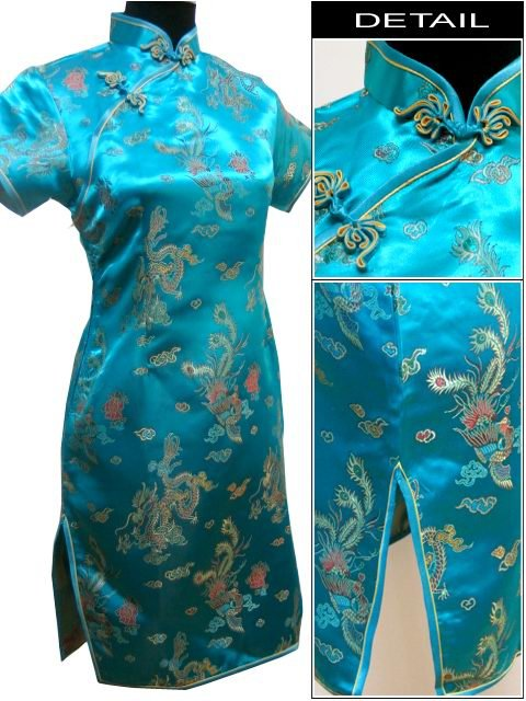 90fad9eed PLUS SIZE 1x 2x 3x / UK 18 22 26 Chinese dress PARTY cocktail Womens dress  YDM004LF-Turquoise brocade satin
