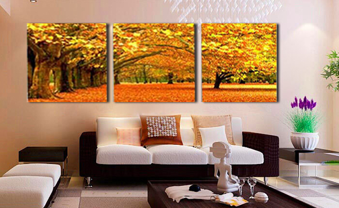 3 P Wall Art Modern Abstract Large Cheap Autumn Maple