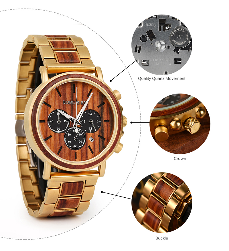 BOBO BIRD Business Luxury Brand Quality Chronograph Wood Metal Quartz Wristwatch Wooden Watch Men Relogio Masculino J-Q26 7