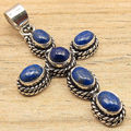 Real LAPIS LAZULI Gems CROSS Pendant Blue,  Silver Plated ! Wholesale Jewelry