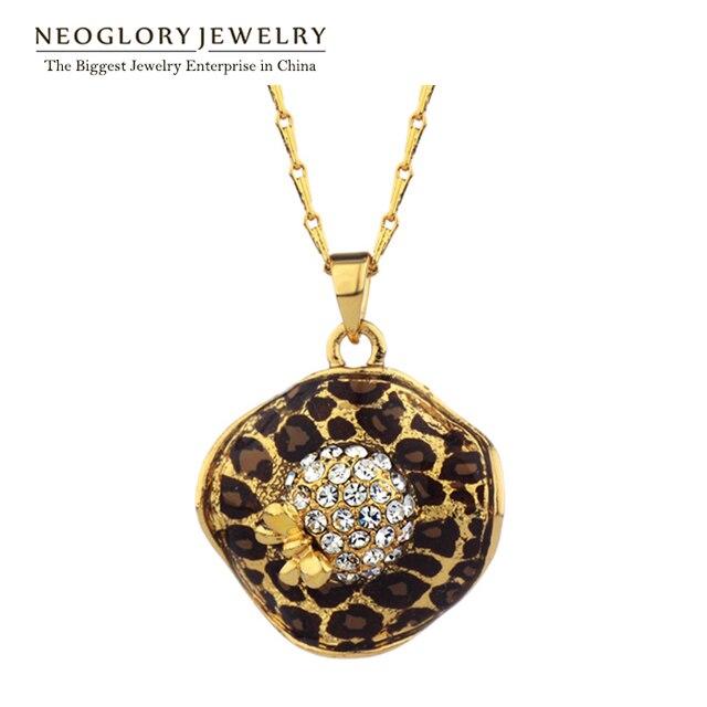 Neoglory Jewelry leopard Necklaces round rhinestone pendant enamel lady jewelry new products 2014