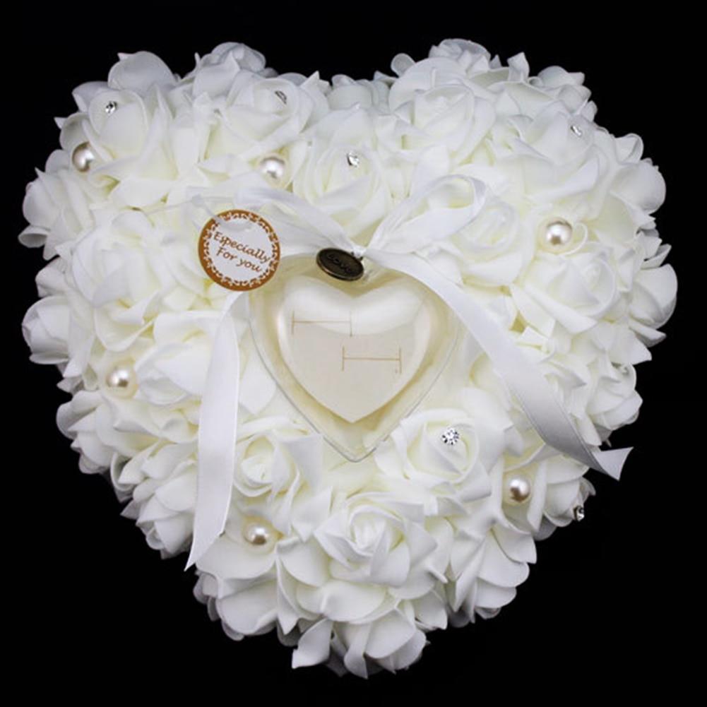 Elegant Rose Wedding Favors Heart Shaped Gift Ring Box Pillow ...