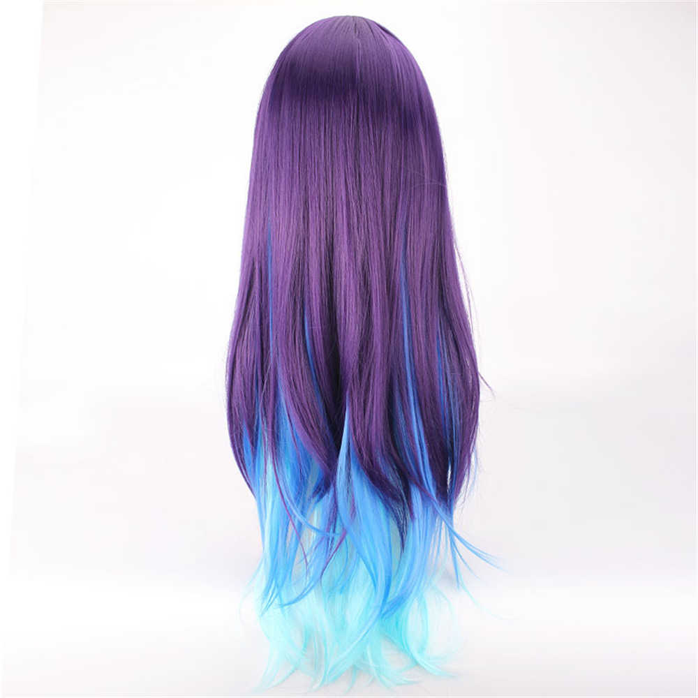 Peluca Harajuku Lolita violeta de Color azul cielo que combina con el rollo de marca de agua Peluca de pelo largo disfraz halloween anime unisex cosplay Anime