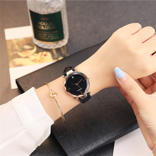 2018 Fashion Rhinestone Women Watches Luxury Golden Leather Ladies Watch Women D