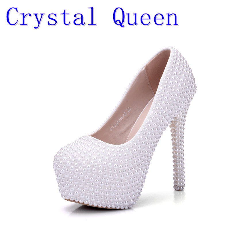 Crystal Queen New White Pearl Wedding Shoes With Matching Bags Women High heel Platrorm Shoes Woman High Pumps 14CM Heels fashin new stunning rhinestone pearl wedding shoes crystal pride pedding high heel pumps dress pearl pregnant pumps shoes