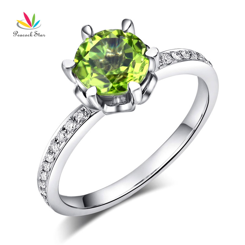 Bague de fiançailles de mariage en or blanc 14 K étoile de paon 1.4 Ct péridot 0.14 Ct diamants naturels