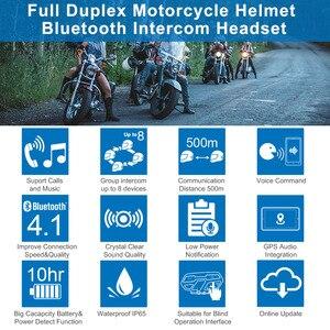 Image 2 - Fodsports 2 pcs M1 S Pro Motorcycle Helmet Intercom 8 Rider Helmet Bluetooth Headset Waterproof Intercomunicador Moto Interphone
