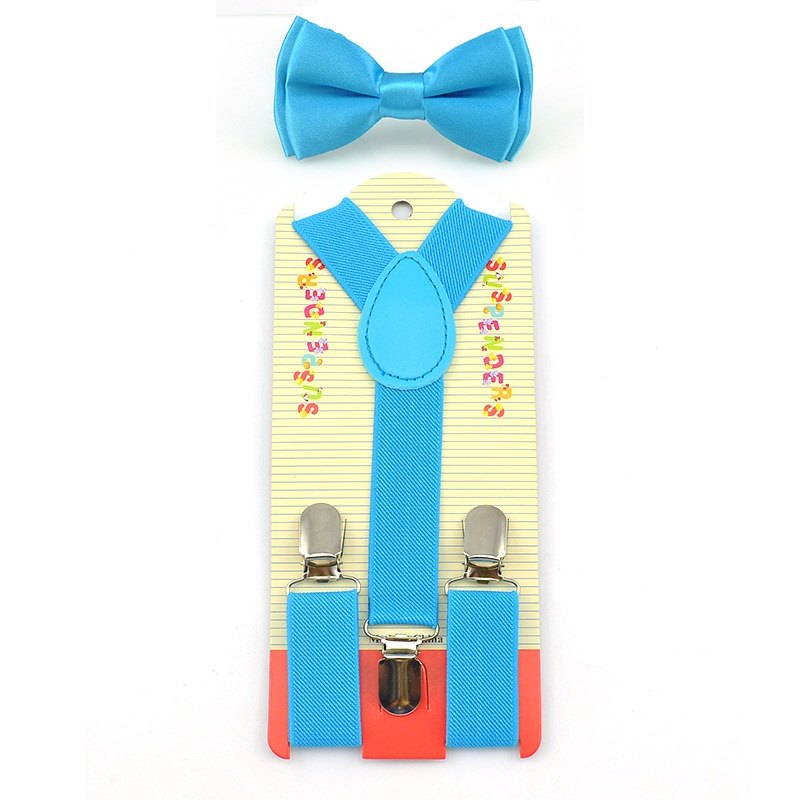 2016 Suspenders And Bow Tie Set Braces Elastic Y-back For Baby Kids Sky Blue Black Blue Boy Girl Suspenders And Bow Tie Hot !!