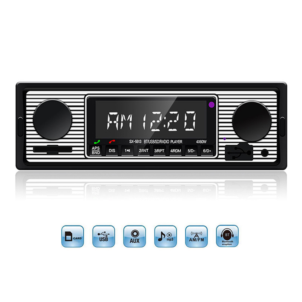 12V Bluetooth Vintage Car Radio 1DIN Stereo Classic Audio