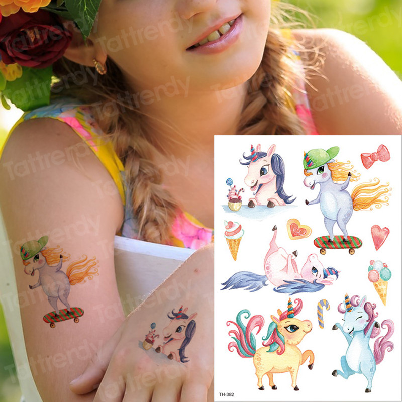 Kids Tattoo Temporary Waterproof Tattoos Children Stickers Body Art Horse Unicorn Animals Tatoo Water Color Face Hand Tattoo Kid