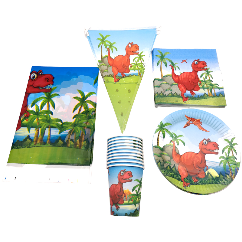 Dinosaur Theme Napkins Decorate Flags Cups Birthday Party Hanging Banner Baby Shower Boys Kids Favors Tablecloth Plates 51PCS