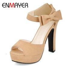 ENMAYER Black Hot New Summer Peep Toe Ankle Strap Sweet High Heel Sandals Platform Shoes Woman Bowties Charms Sandals Pumps