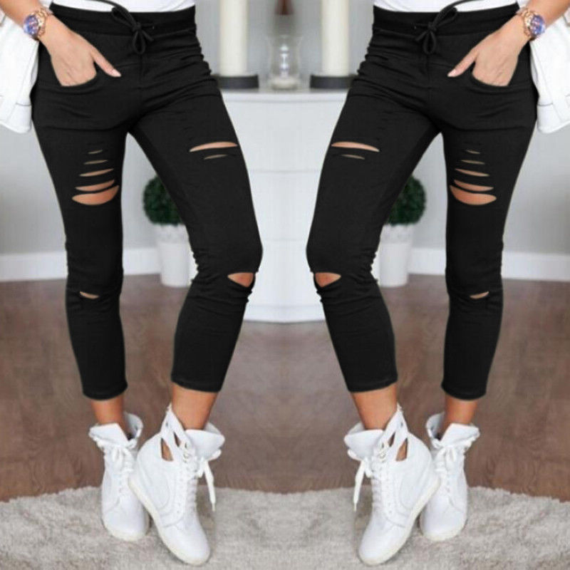 Women Ripped Skinny Jeans Ladies Lace up Denim Stretchy Pants Uk Size 6-14