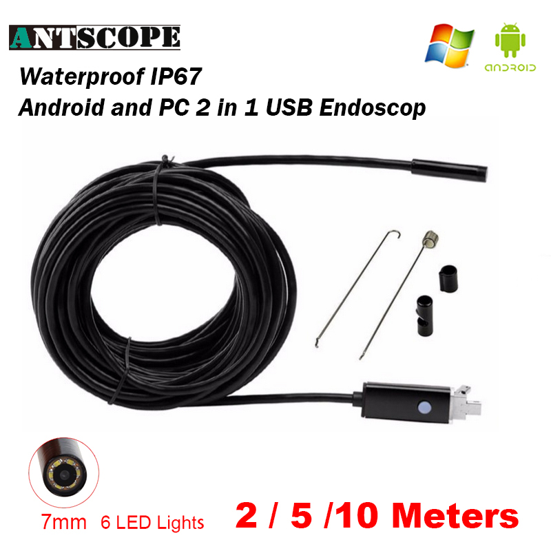 цена Antscope Endoscope 7MM 2M 5M 10M Endoscope HD USB Android Endoscopio Camera Android Borescope USB Endoskop Inspection Camera 50