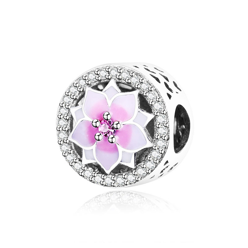 925 Sterling Silver Beads Magnolia Bloom Charm With Enamel And CZ Fit Original Pandora Charms Bracelet DIY Jewelry Making 2017