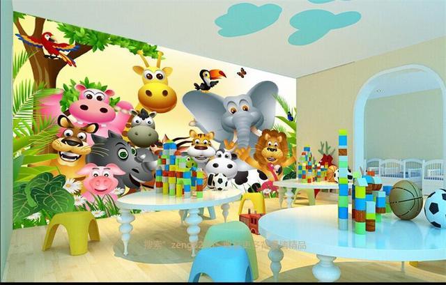 Wallpaper Photo Custom Mural Kids Room Cartoon Cute Animal Hy Jungle Painting Sofa Background Non Woven Sticker