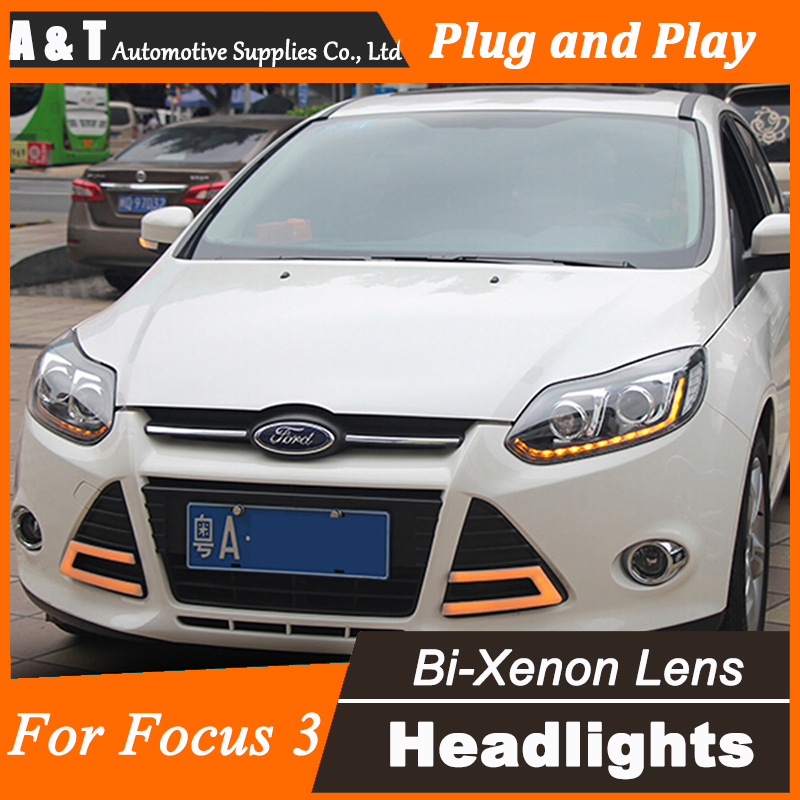 Car Styling for Ford Focus3 Headlights New Focus LED Headlight DRL Lens Double Beam H7 HID Xenon bi xenon lens led headlight drl lens double beam bi xenon hid projector lamp rh lh for ford focus 2015 2016 2017 d2h 5000k 35w hi low beam
