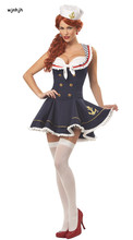 WHWH Women Halloween Sexy Nautical Navy Sailor Pin Up Stripe Cosplay Costume Mini Dress Fancy Dress With Hat Size M XL