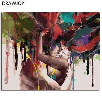 DRAWJOY oprawione rysunek malarstwo obraz DIY według numerów na płótnie malarstwo akrylowe Wall Art do salonu do wystroju domu 40x50