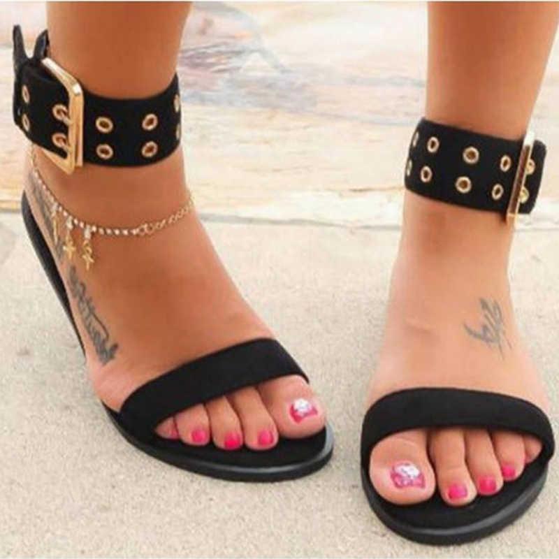 Litthing 2019 Sandalias mujeres bailarinas transparentes zapatos de gran tamaño femenino claro zapatos damas romanas playa Sandalias Mujer