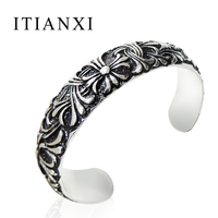 ITIANXI Stainless Steel Cuff Bangle Retro Gothic Cross Weave Pattern Metropolis Bracelet Equipped With Personalized Jewelry